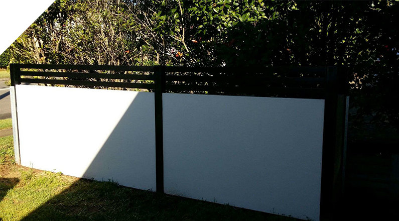 Finished with slats installed - The QUICKBUILT Fencing - Modular acoustic barrier fencing system easy and fast to install and cost effective. The QUICKBUILT sound barrier fence system has been designed by our team of builders and tradies with the DIY market in mind.