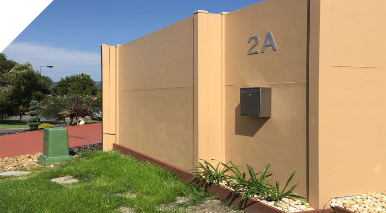 QUICKBUILT DIY Modular acoustic panel wall system used as a Residential Boundary Fence in Melville
