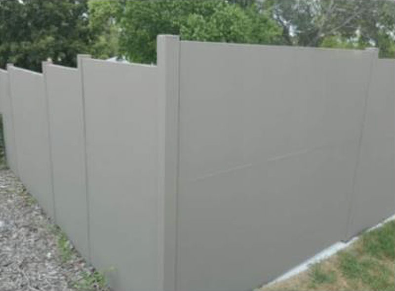 QuickBuilt acoustic panel modular fencing is a fraction of the cost of a fully rendered brick fence with the added bonus of a sound proof barrier.